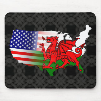 American Welsh Flags Map Mousemat