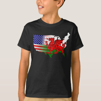 American Welsh Flags Map Tee
