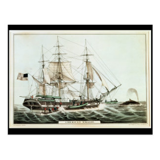 American Whaler, engraved by Nathaniel Currier Postcard