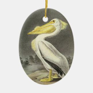 American White Pelican by Audubon Ceramic Ornament