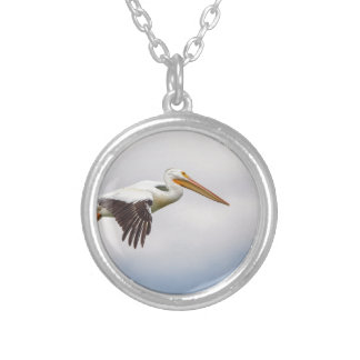 American White Pelican Cruising Silver Plated Necklace