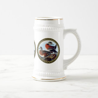 American Widgeon ducks on a rock Beer Stein