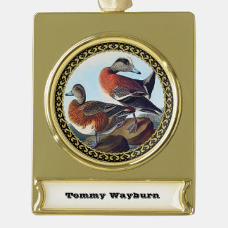 American Widgeon ducks on a rock Gold Plated Banner Ornament