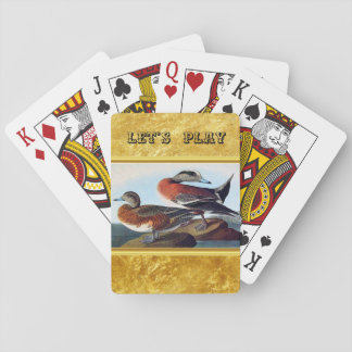 American Widgeon ducks on a rock Playing Cards