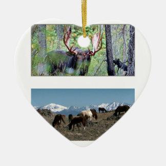 American Wild Animals MUSTANG HORSE DEERS Ceramic Heart Decoration