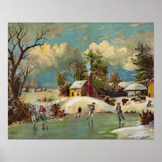 American Winter Life Christmas Scene Poster
