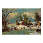 American Winter Life Christmas Scene Posters