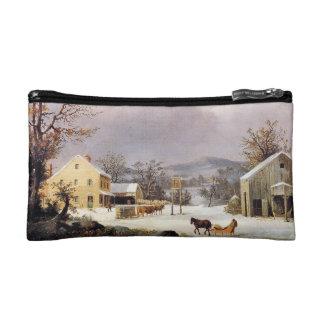 American Winter Snow Horse Sleigh Cosmetics Bag