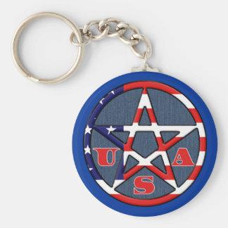 American Witch Witchy USA Pentagram Keychain