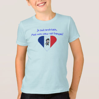 American with French Heart - Kids T Shirt