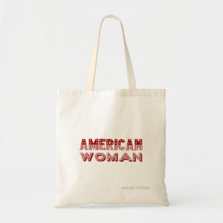 """American Woman"" Red Flag Type Tote Bag"