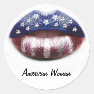 American Woman Round Sticker