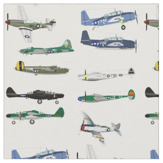 American World War Two Fighters Fabric