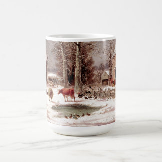 Americana Barnyard Cows Animals Pond Snow Farm Mug