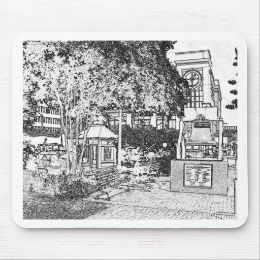 Americana Black and White Small Town Square Mousepad