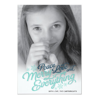 "Americana Blue Ribbon Script Holiday Photo Card 5"" X 7"" Invitation Card"