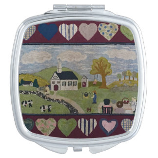 Americana Country Hooked Rug Makeup Mirrors