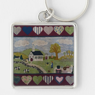 Americana Country Hooked Rug Silver-Colored Square Key Ring
