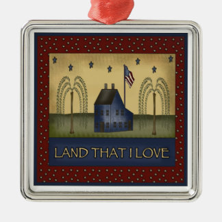 Americana Country Patriotic Christmas Gift Silver-Colored Square Decoration