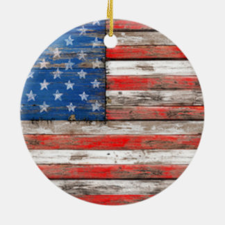 Americana Flag Ceramic Ornament