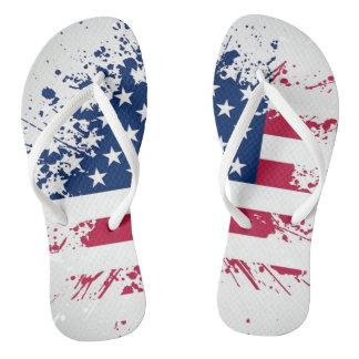 Americana Flag Design Flip Flops Thongs