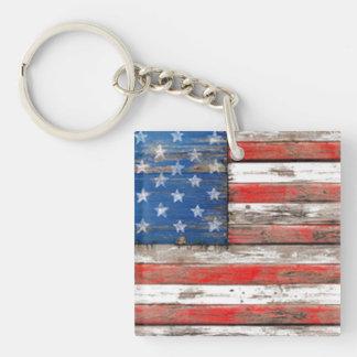 Americana Flag Double-Sided Square Acrylic Key Ring