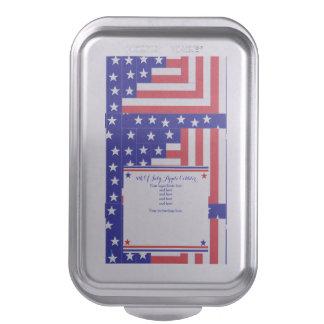 Americana Flag Log Cabin Customizable Recipe Cake Pan