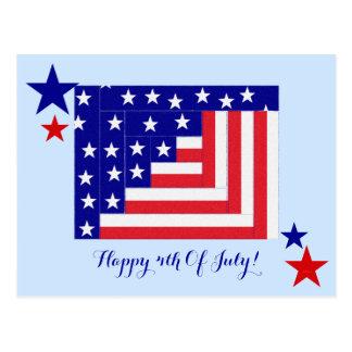Americana Flag Log Cabin Pattern Patriotic Postcard