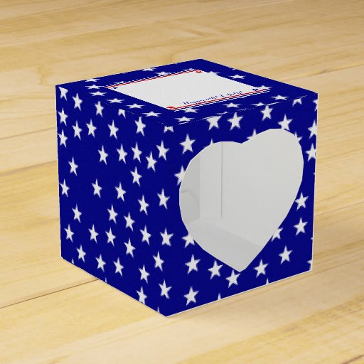 Americana Flag Log Cabin Pattern Patriotic Stars Favor Boxes