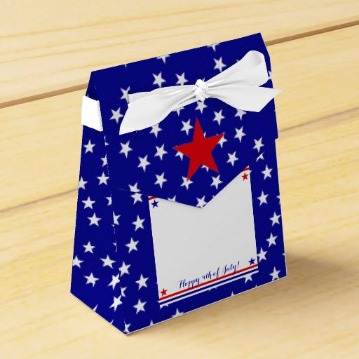 Americana Flag Log Cabin Pattern Patriotic Stars Party Favor Boxes