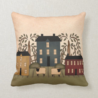 Americana Folk Art Houses Pillow