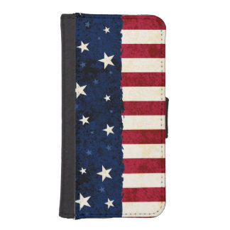 Americana Folk Stars & Stripes Patriotic iPhone SE/5/5s Wallet Case