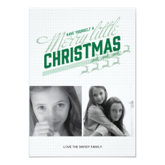 Americana Green Reindeer Holiday Photo Card 13 Cm X 18 Cm Invitation Card
