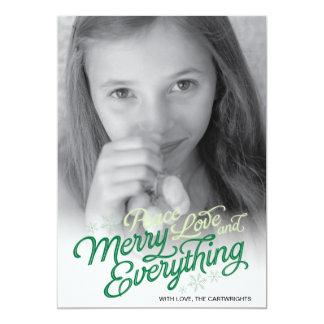 Americana Green Ribbon Script Holiday Photo Card 13 Cm X 18 Cm Invitation Card