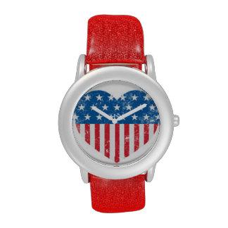 Americana Heart Flag Patriotic Red Glitter Watch Wrist Watches