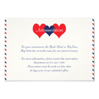 Americana Hearts Wedding Insert Personalized Announcement