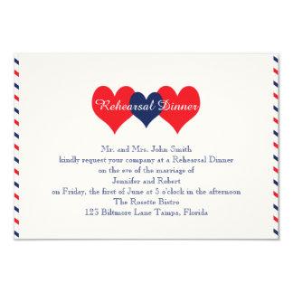 Americana Hearts Wedding Rehearsal 9 Cm X 13 Cm Invitation Card