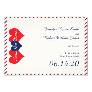 Americana Hearts Wedding Save the Date Personalized Invite
