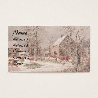 Americana Horse Sleigh Farm Animals Business Card