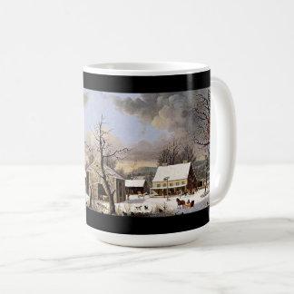 Americana Horses Sleighs USA Town Snow Mug