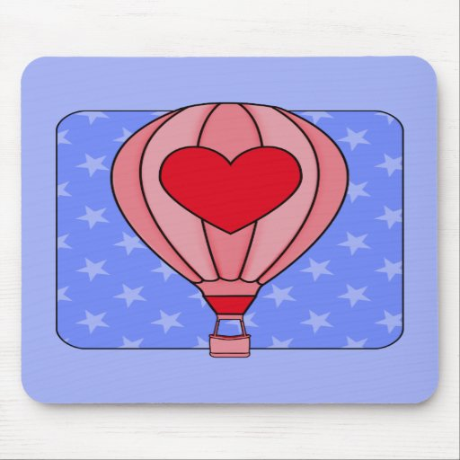 Americana Hot Air Balloon Red White Blue Mousepad