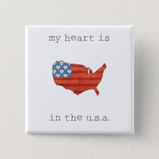 Americana | My Heart Is In The USA Map 15 Cm Square Badge