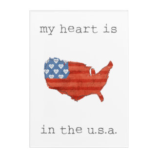 Americana | My Heart Is In The USA Map Acrylic Print