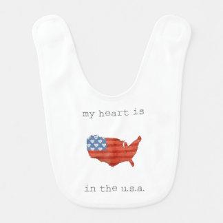 Americana   My Heart Is In The USA Map Bib