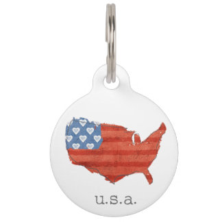 Americana   My Heart Is In The USA Map Pet ID Tag