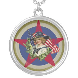 Americana Round Pendant Necklace