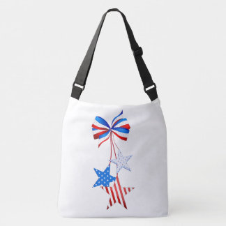 Americana Stars with a Bow Red White Blue Tote Bag