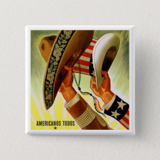 """Americanos Todos"" (Americans All) Vintage Button"