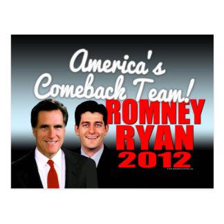 America's Comeback Team Postcard, Romney Ryan 2012 Postcard