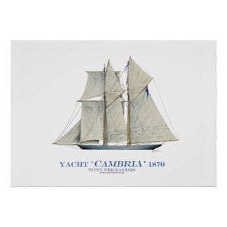 americas cup yacht 'cambria' 1870, tony fernandes print